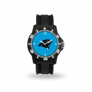Carolina Panthers Black Rubber Strap Water Resistant Mens Watch