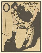 William Nicholson Woodcut Print 1898 O for Ostler Alphabet Lithograph 1975