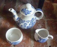Willow pattern tea pot , sugar bowl & milk jug. Blue + white