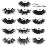 100% Mink 3D Fluffy False Eyelashes 25mm Natural Thick Lashes Extension Eyelash-