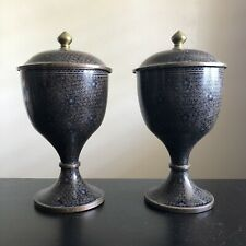 Antique PAIR Qing Dynasty Chinese Black Enameled Cloisonné Lidded Urns Jars Art