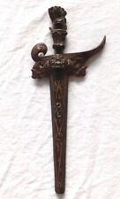 Indonesian Bali Keris Kris style 9 luk dagger & wood scabbard carved