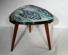 Rockabilly shabby chic - Kleiner runder Mosaik Beistell Blumen Tisch Hocker 50er