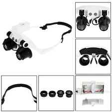 DANIU Portable Head Wearing Magnifying Glass 10X 15X 20X 25X LED Double Eye