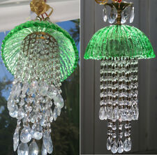 1o7 Venetian Murano Glass Emerald jelly Fish hanging brass Lamp SWAG chandelier