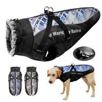 Windproof Dog Winter Coats Waterproof Warm Jacket Fur Collar With Harness Boxer