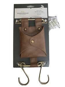 Threshold Faux Leather Pouch With Hooks - Wall Organizer - New