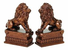 """8"""" Poly Resin Brown Glossy Study Decorative Lion Bust Library Book Shelf Bookend"""
