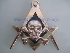 New3D Masonic Master Mason Skull Car Emblem, Gold, Elite Masonic Gifts Design.