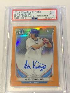 2014 Bowman Chrome Draft Baseball Alex Verdugo Orange Refractor AUTO 24/25 PSA 9