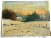 SM ANTIQUE FOLK ART OIL PAINTING SUNSET SNOW LANDSCAPE COUNTRY PRIMITIVE COTTAGE