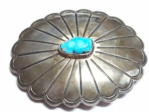Lovely Vintage Turquoise Sterling Silver Flower Belt Buckle X665A