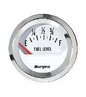 "Sunpro 2"" Fuel Level Gauge White, Chrome Bezel New CP8209 Authorized Distributor"