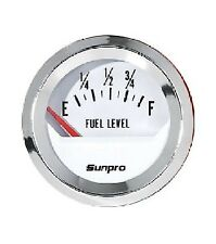 "Sunpro 2"" Fuel Level Gauge White, Chrome Bezel New Cp8209 Authorized Distributor"