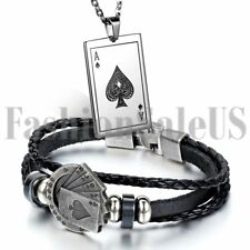 Men Stainless Steel Ace of Spades Poker Card Tag Pendant Necklace Bracelet Cuff