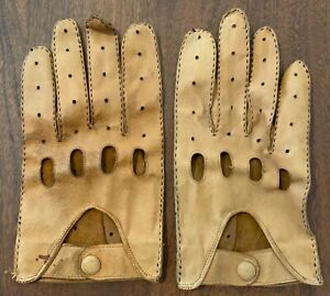 Soft Leather Brown Driving Gloves for Vintage or Veteran Car Touring Run