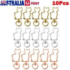10Pcs Swivel Clasps Lobster Snap Hook Metal Cat Shape Keychain Jewelry Pendant