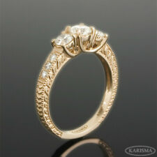 1.15 CARATS TRIO DIAMOND RING GENUINE 14 KARAT ROSE GOLD RED CHANNEL SETTING SI2