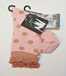 K. Bell Women's Pink & Brown Polka Dot Crew Socks - Sock Size 9-11