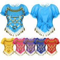 Women Glitter Sequin Belly Dance Crop Top Tassels Back Tie Up T-shirt Halloween