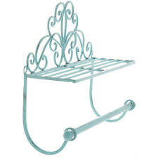French Blue Metal Shelf with Towel Rod,Perfect Touch to your bathroom or kitchen