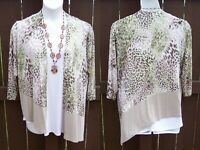 Chico's Travelers open cardigan jacket size 3 L XL 16 18 leopard print green top