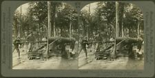 French Gunners Charging Huge Howitzer in Forest of Argonne - WW1 Stereoview