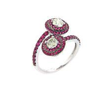 Diamant Ring 750 18kt Weißgold Ceylon Rubin Brillanten Design Cocktail Neu