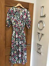 Gorgeous Laura Ashley Floral Print Elasticated Waist Vintage Midi Dress UK 12