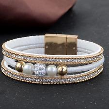 Women Gold Magnetic Buckle Rhinestone Crystal Beads Bangle Bracelet Wristband
