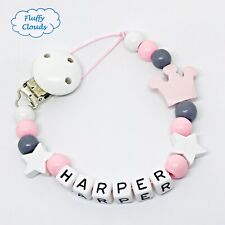 Personalized Dummy Clip Wooden Bead Pacifier Holder ~ Baby Girl ~ Fluffy Clouds