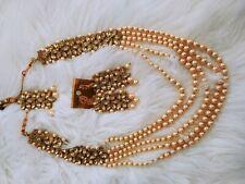jewelry women necklace set indian kundan mang tikka off white pearl earring
