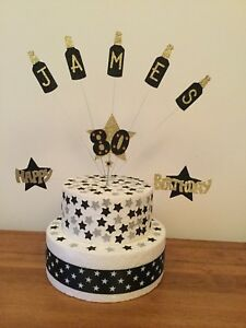 Cake Topper Beer Bottles Personalised 18th 21st 30th 40th 50th 60th all Colours