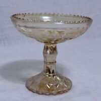 Vintage Yellow Gold Carnival Glass Stand Candy Dish Pedestal Bowl
