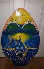 Skim Lizard Michael Searle Surf Board Skimboard Wood Shark Sun blue Free Ship!