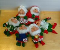 "Vintage lot of 6 Mr. & Mrs. Santa & Elves Christmas Tree Ornament Plush Doll 7"""