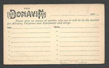 Ca 1909 P C COLUMBUS OH GEO B DONAVAN CO MAKES MILITARY UNIFORMS ETC, UNPOSTED