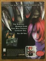 Dino Crisis Playstation 1 PS1 1999 Vintage Poster Ad Art Horror Official Promo