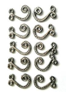 10 Dirndlhaken, Miederhaken Ösen Trachtenhaken Metallhaken Silber Metall