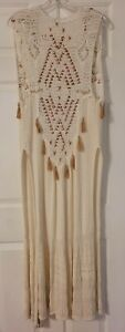 Free People Crocheted Duster Cardigan Tassles Kimono Small