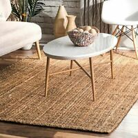 nuLOOM Hand Made Modern Simple Ribbed Jute Area Rug in Solid Natural Tan
