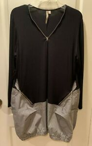 COMFY USA Black Sun Kim Sara Bubble Zip Tunic Dress Size Large