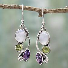 Vintage 925 Silver Oval Moonstone Amethyst Peridot Dangle Hook Earrings Jewelry