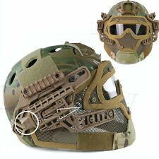 Tactical Airsoft Fast Helmet w/ Protective Full Face Mask Googles G4 System CP