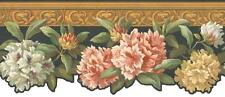 Wallpaper Border White Pink Yellow Floral on Black with Wood Trim
