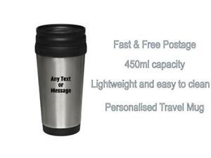 Personalised Name Initial Thermal Travel Mug Cup Flask Custom Coffee Tea Flasks