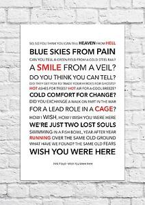 Pink Floyd - Wish You Were Here - Song Lyric Art Poster - A4 Size