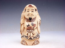 "2.75"" Bone Highly Detailed Hand Crafted Japanese Netsuke Man Carrying Big Bag #C"