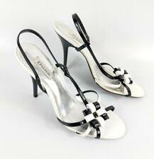 Dune Black/white High Heel Slingback Sandals Uk 7 Eu 40