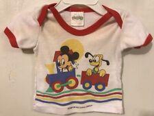Vtg 1984 Disney Babies Shirt Newborn to 6 Months Baby Mickey Pluto Train *flaws